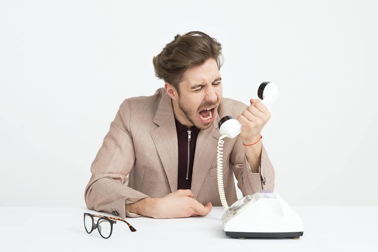 Yelling at phone